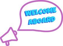 Bienvenue ? bord Insigne avec l'ic?ne de m?gaphone illustration de vecteur