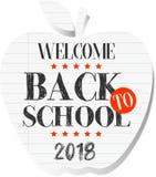 Bienvenue de nouveau à l'école 2018 illustration libre de droits