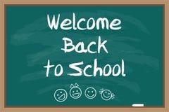 Bienvenue de nouveau à l'école Tableau noir vert Inscription dessinée par craie Photo stock