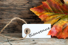 Bienvenue on a Fall Label Stock Photography
