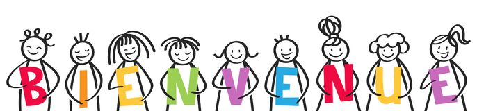 BIENVENUE, group of stick figures holding colorful letters, french kids saying welcome. Isolated on white background stock illustration
