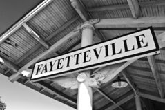 Bienvenue vers Fayetteville Images stock