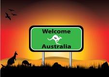 Bienvenue vers l'Australie dans le coucher du soleil illustration de vecteur