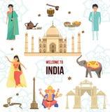 Bienvenue vers l'Inde L'air mondial voyageant, découvrent le concept historique d'architecture Photos stock