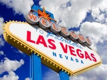 Bienvenue vers Las Vegas, fond de nuages. Images libres de droits