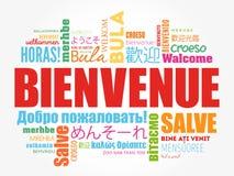 Bienvenue-Willkommen auf französisch Lizenzfreie Stockfotos