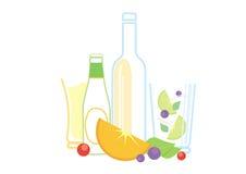 Bier, Apfelwein, Cocktail und Früchte Lizenzfreies Stockbild