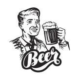 Bier of bar Gelukkige glimlachende mens met mok vers aal Vector illustratie Stock Afbeelding