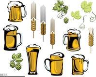 Bier, biermok, hop, vector, kleur, zwarte, illustratie, elementen van grafische registratie Stock Afbeelding