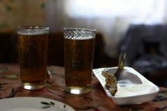 Bier bij het retro plattelandshuisje stock afbeelding