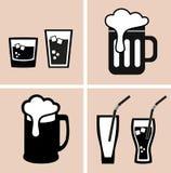 Bier cocktail Alkoholiker und alkoholfreie Getränke Ikonen eingestellt stock abbildung
