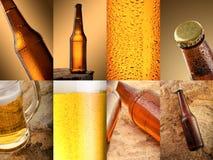 Bier Collage von verschiedenen Bierdetails Stockbilder