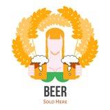 Bier, das Aufkleber-Zeichen, flaches Vektor-Logo mit Mädchen verkauft Stockfotos