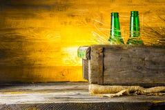 Bier in een doos stock foto's