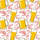 Bier en garnalen, naadloos patroon Royalty-vrije Stock Afbeelding