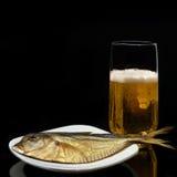 Bier en gerookte vissen in witte plaat Royalty-vrije Stock Foto's