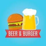 Bier en hamburger vlakke ontwerpillustratie Voedsel Royalty-vrije Stock Foto's