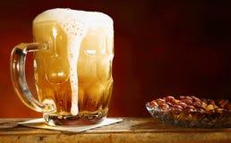 Bier en pinda's Royalty-vrije Stock Foto
