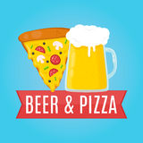 Bier en Pizza vlakke ontwerpillustratie Voedsel Stock Foto