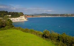 Bier en stranden Seaton en kustlijn Devon stock foto's