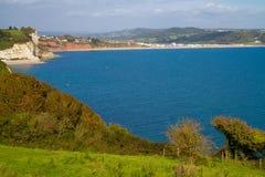Bier en stranden Seaton en kustlijn Devon royalty-vrije stock foto's