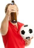 Bier en voetbal Royalty-vrije Stock Afbeeldingen