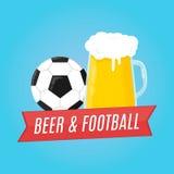 Bier en Voetbal Concept voor bar Royalty-vrije Stock Afbeeldingen