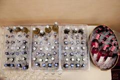 Bier en wijn in ijs voor huwelijksontvangst Royalty-vrije Stock Afbeelding