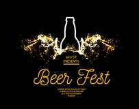 Bier Fest Spritzen des Bieres mit Blasen auf einem schwarzen Hintergrund Vector Illustration mit einem Schattenbild einer Flasche lizenzfreie abbildung