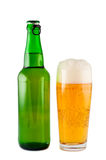 Bier, fles, geïsoleerd glas. Stock Foto