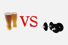 Bier gegen Sport Lizenzfreies Stockfoto