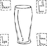 Bier-Glas-Weizen-Art Hand gezeichneter Vektor Illustraition Stockfotografie