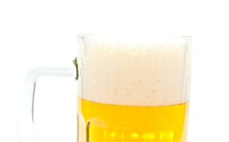 Bier in glasclose-up Stock Afbeeldingen