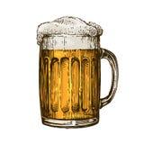Bier in glasmok met schuim Hand getrokken vectorillustratie Stock Fotografie