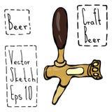 Bier-Hahn-Gekritzel-Art-Skizze Hand gezeichnete vektorabbildung Stockbild
