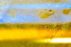 Bier im Glas mit Blasen und Schaum Makro stockbild