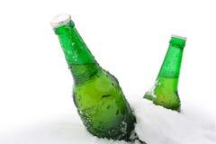 Bier im Schnee Lizenzfreie Stockfotos