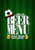 Bier-Menüdesignkarte für Sportbar Stockbilder