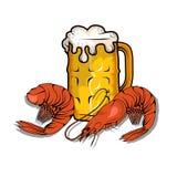 Bier mit Garnelen Lizenzfreie Stockbilder