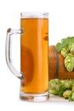 Bier mit Hopfen Stockfotos