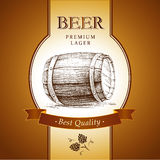 Bier mit Hopfen faß vektor abbildung