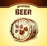 Bier mit Hopfen faß stock abbildung