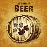 Bier mit Hopfenfaß lizenzfreie abbildung