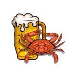 Bier mit Krabbe Stockfotos