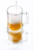 Bier mit Reflexion Stockfotografie