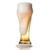 Bier mit Schaumgummi in das Glas getrennt auf Weiß lizenzfreies stockbild