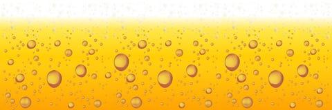Bier mit Schaumgummi und Luftblasen Horizontaler Hintergrund des Vektors stock abbildung