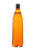 Bier plastic fles bruin op witte achtergrond Royalty-vrije Stock Foto's
