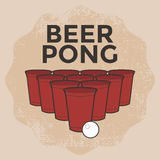 Bier Pong Drinking Game royalty-vrije illustratie