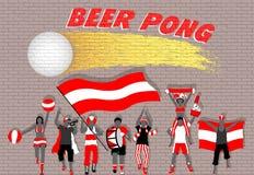 Bier pong Parteianhänger vor Backsteinmauergraffiti vektor abbildung